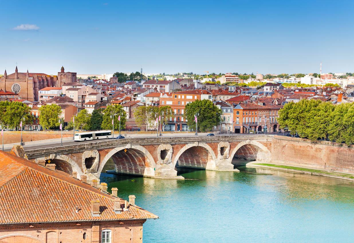 Toulouse and Pont Neuf bridge across Garonne river